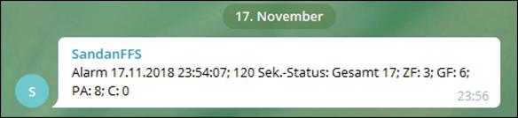 Tetra Callout Telegram Rückmeldung