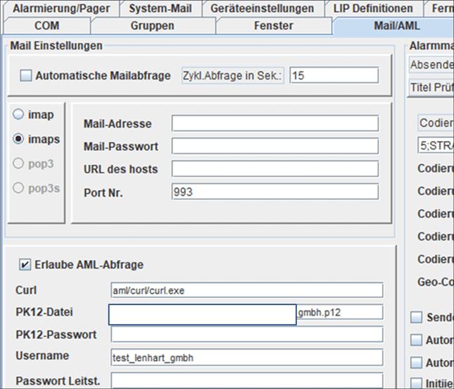 AML Auswertung - Schnittstelle zum zentralen Server