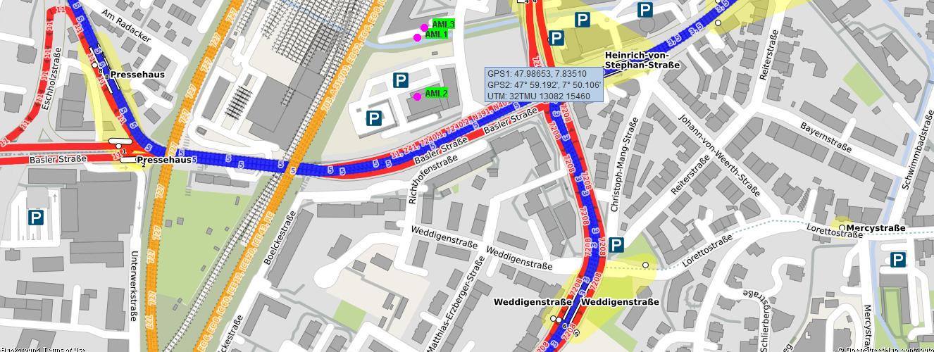 AML Advance Mobile Location mit Sandan - OSM ÖPNV Karte